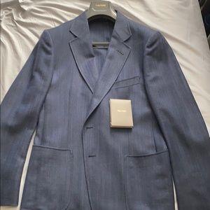 Navy herringbone unlined Tom Ford Sports Jacket.
